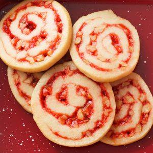 Strawberry-Nut Pinwheel Cookies