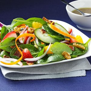 Strawberry-Orange Spinach Salad with Toasted Walnuts