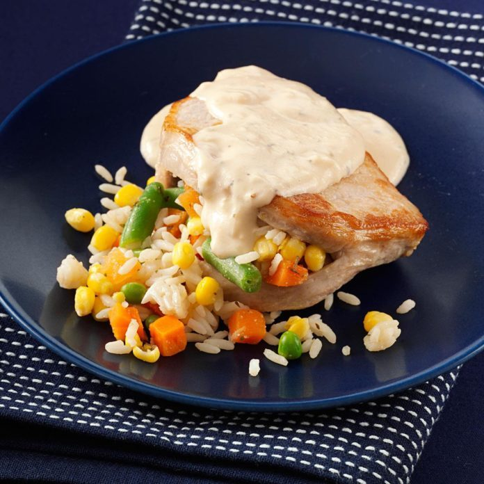 Stuffed Alfredo Pork Chops