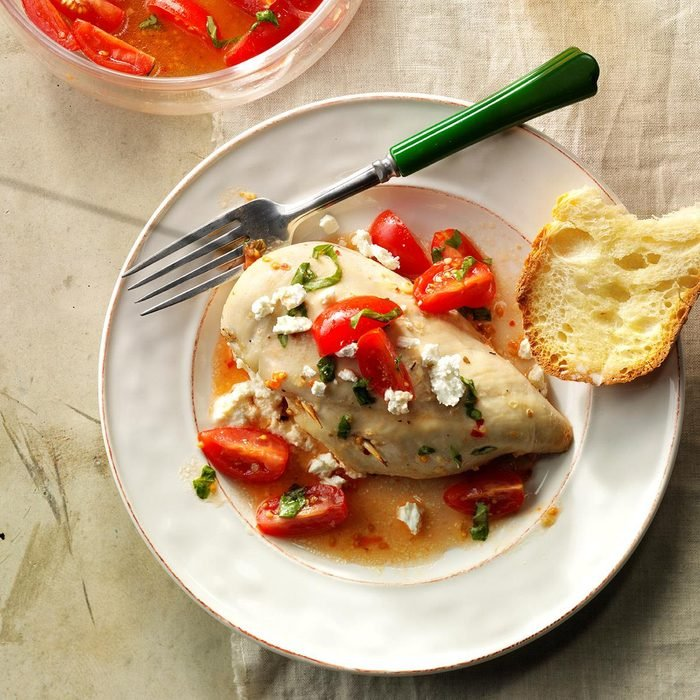 Day 31: Stuffed Chicken with Marinated Tomatoes