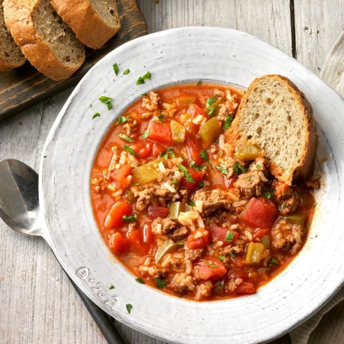 A bowl of one of Taste of Home's best fall recipes Stuffed Pepper Soup