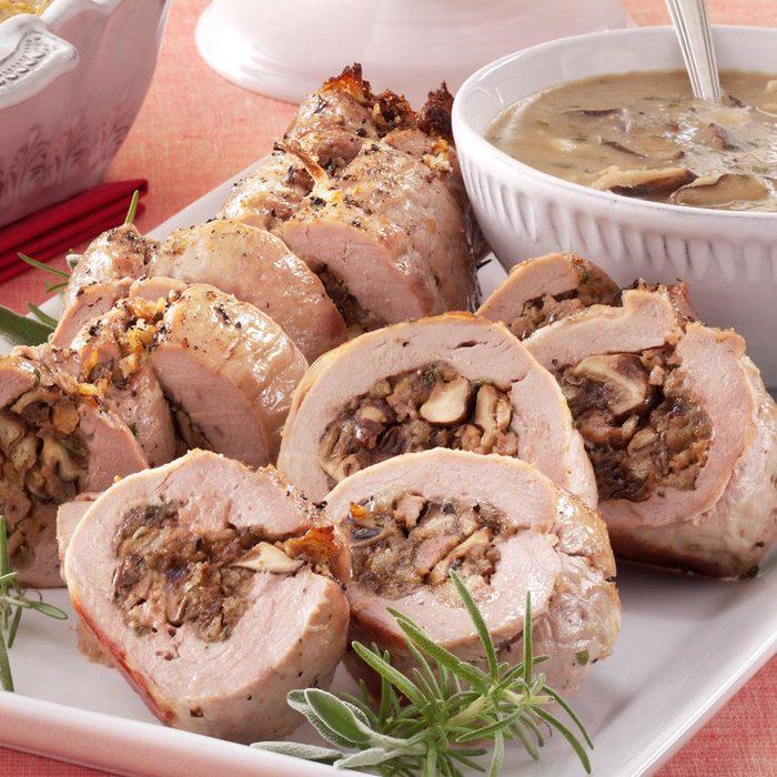 Stuffed Pork Tenderloin with Shiitake Mushroom Sauce
