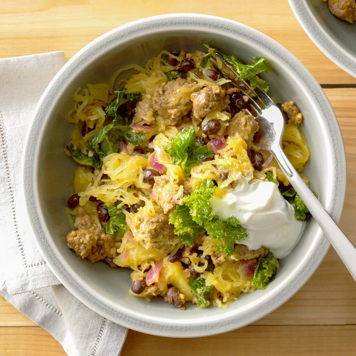 Day 7 Dinner: Beef and Black Bean Spaghetti Squash