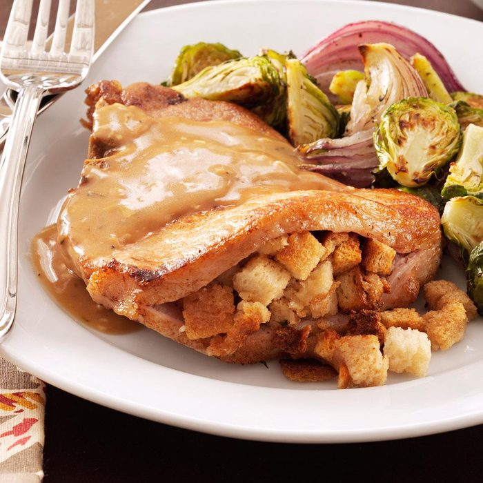 taste of home stuffed pork chop recipe Stuffing-Stuffed Pork Chops Recipe: How to Make It  Taste of Home