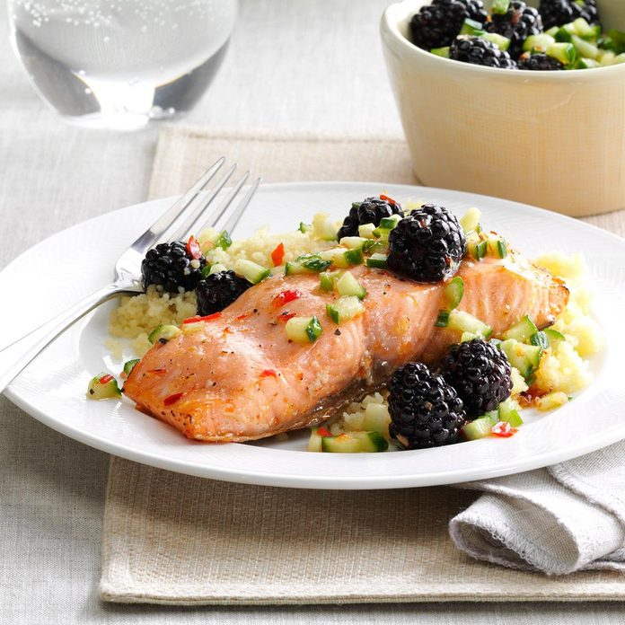 Sweet Chili Salmon with Blackberries
