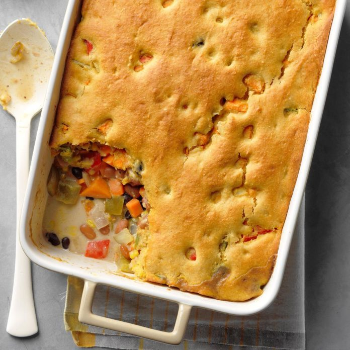 Tex-Mex Bean Bake with Cornbread Topping