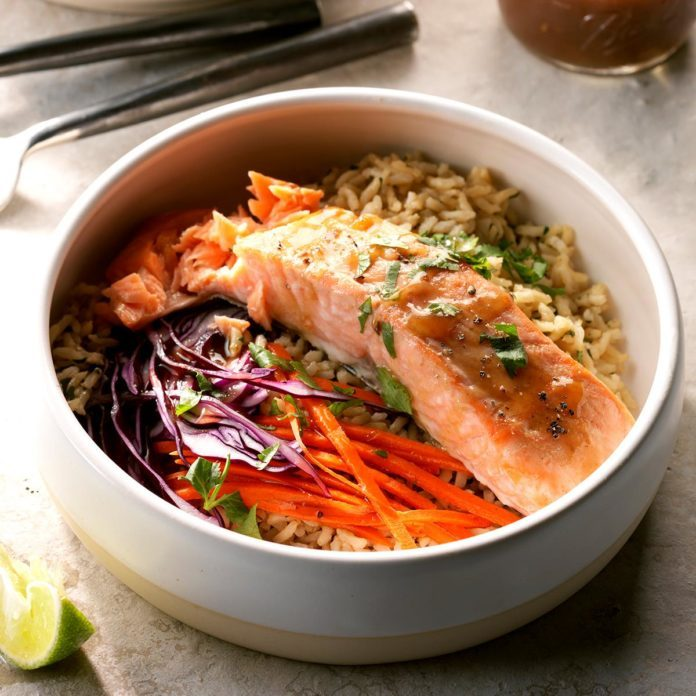 Thai Salmon Brown Rice Bowls