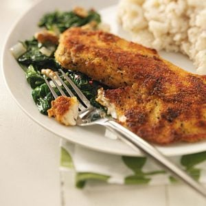Tilapia with Sauteed Spinach