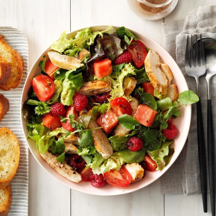 Tomato-Melon Chicken Salad