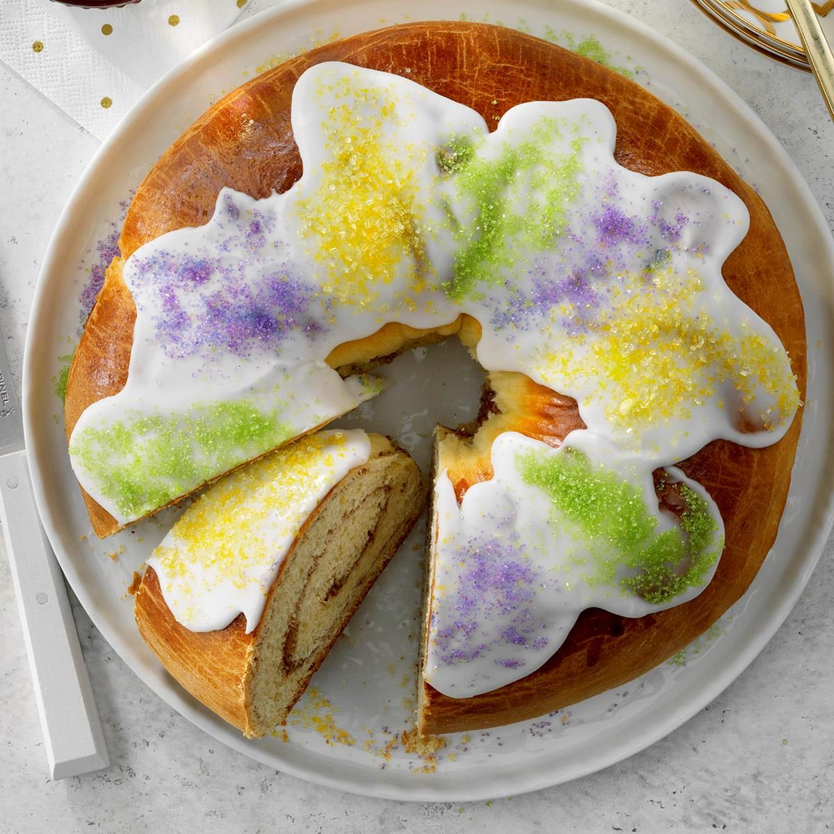 Astonishing Traditional New Orleans King Cake Recipe Taste Of Home Birthday Cards Printable Trancafe Filternl