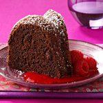 Triple-Chocolate Cake with Raspberry Sauce