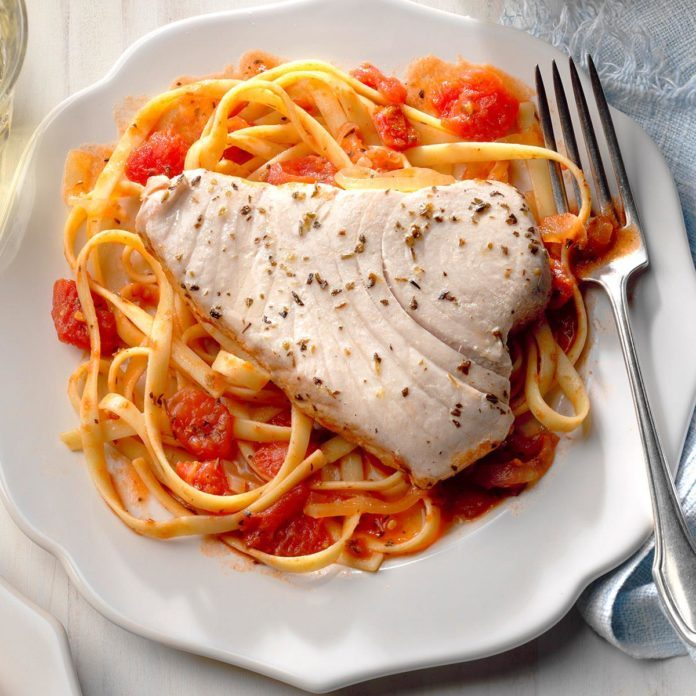 Halibut Steak on Fettuccine