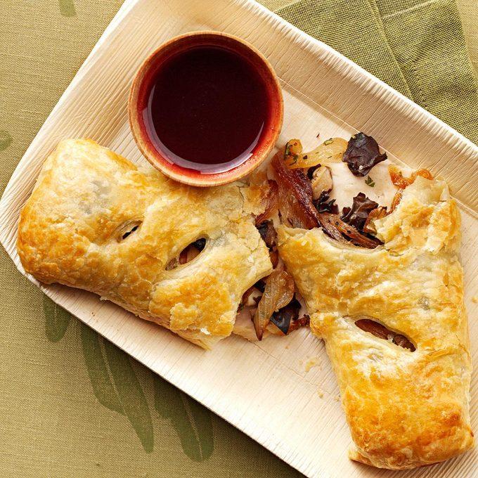 Turkey Puffs with Cranberry Cabernet Sauce