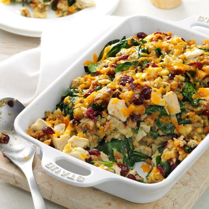 Turkey & Spinach Stuffing Casserole