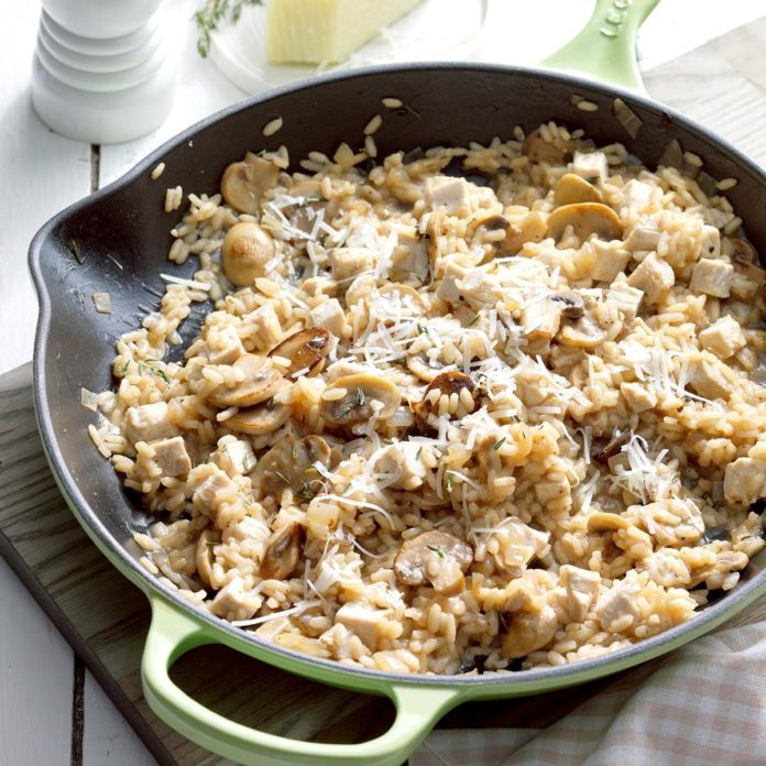 Turkey, Thyme and Mushroom Risotto Inspired by The Last Holiday