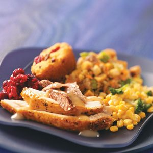 Turkey with Vegetable Sausage Stuffing