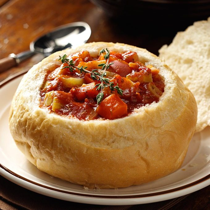 Vegetarian Stew in Bread Bowls