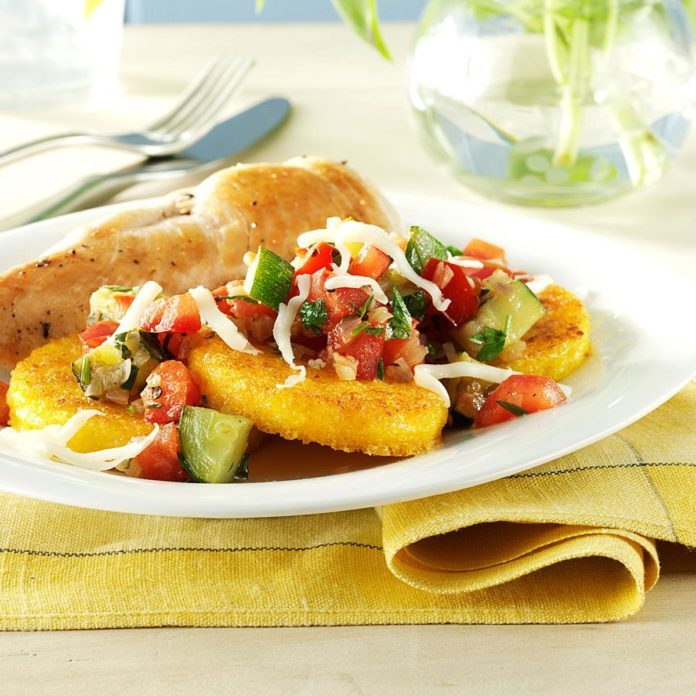 Veggie-Topped Polenta Slices