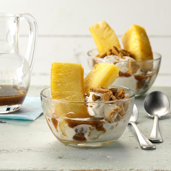 Warm Pineapple Sundaes with Rum Sauce