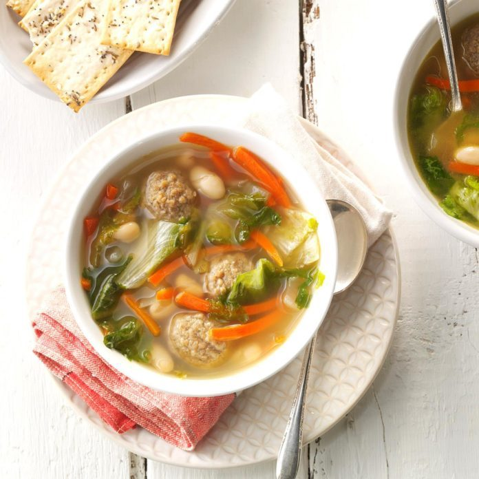 Day 28: White Bean Soup with Meatballs