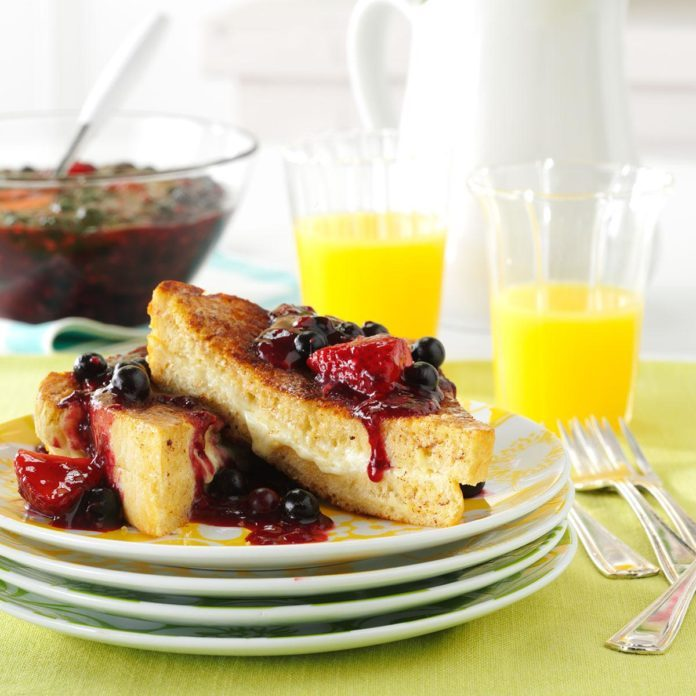Mascarpone-Stuffed French Toast with Berry Topping
