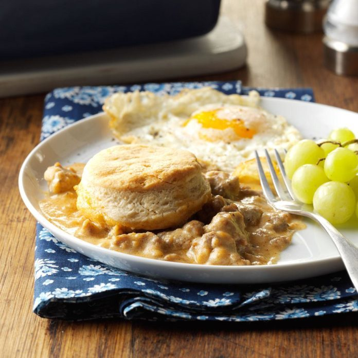 Make-Ahead Biscuits & Gravy Bake