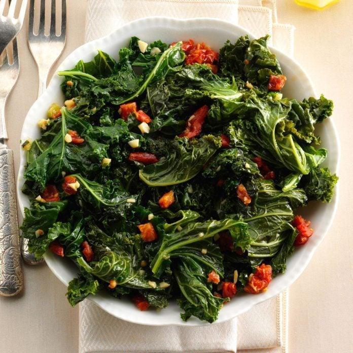 Vegan Warm Tasty Greens with Garlic