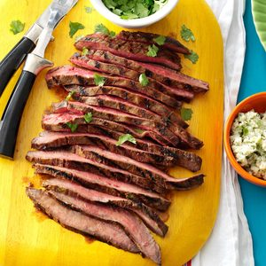 Flank Steak with Cilantro & Blue Cheese Butter