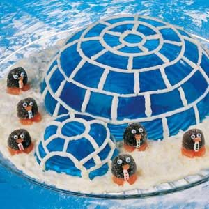 Ice Blue Igloo and Penguins