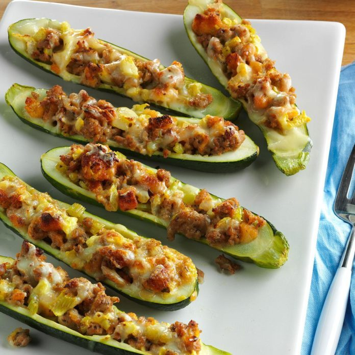 Day 18: Turkey Sausage Zucchini Boats