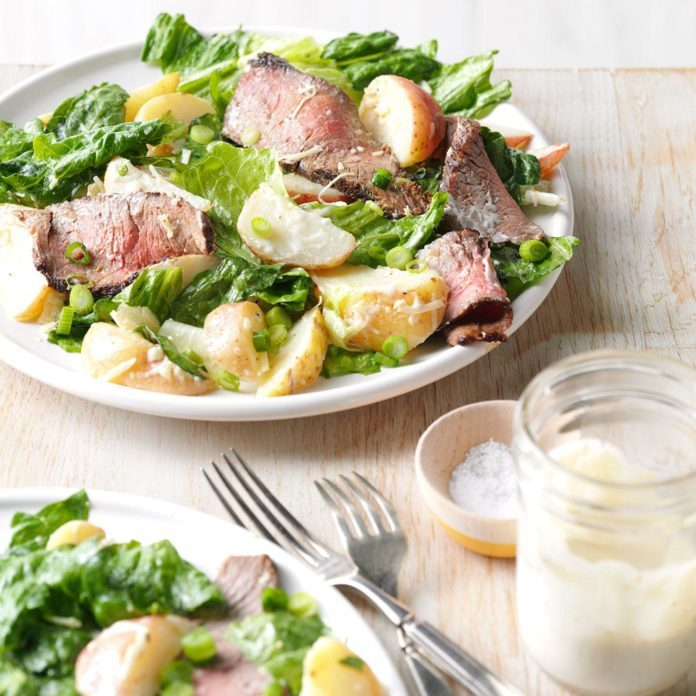 Caesar Salad with Grilled Steak and Potatoes