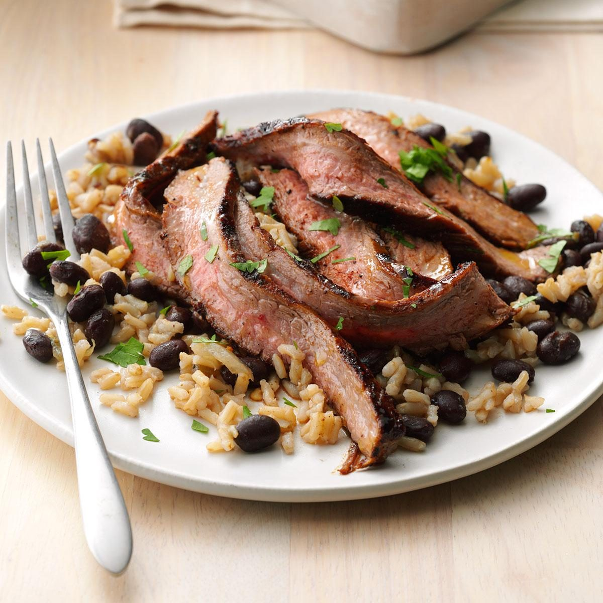Chili-Rubbed Steak with Black Bean Salad