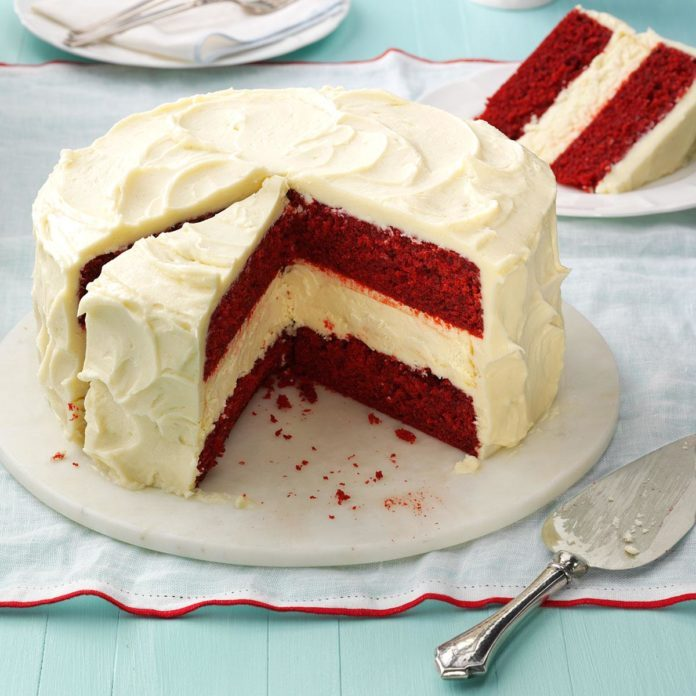 February Birthday: Cheesecake Layered Red Velvet Cake