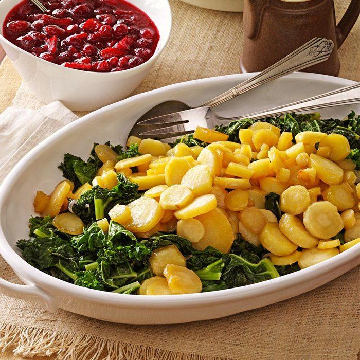 Maple-Glazed Parsnips on Kale