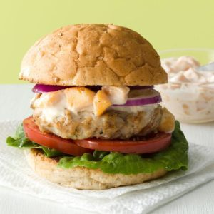 Makeover Turkey Burgers with Peach Mayo