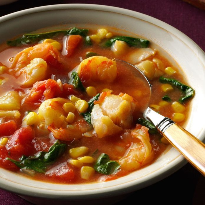 Shrimp & Cod Stew in Tomato-Saffron Broth
