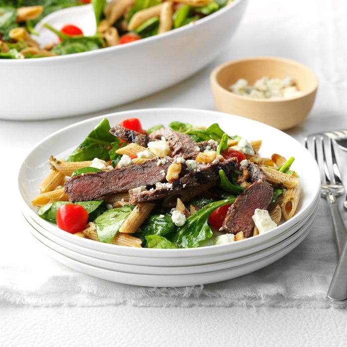 Beef and Blue Cheese Penne with Pesto