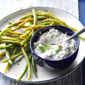 Pickled Green Beans with Smoked Salmon Dip