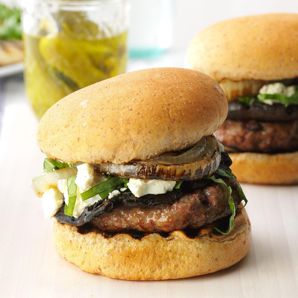 Feta Mushroom Burgers