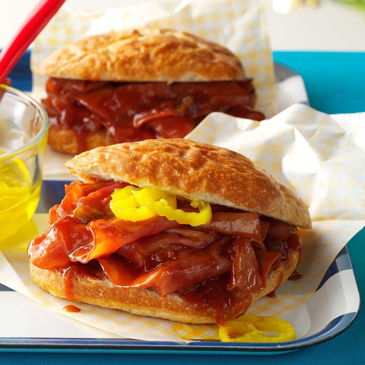 Slow-Cooker BBQ Ham Sandwiches