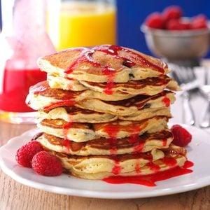 Chocolate Chunk Pancakes with Raspberry Sauce