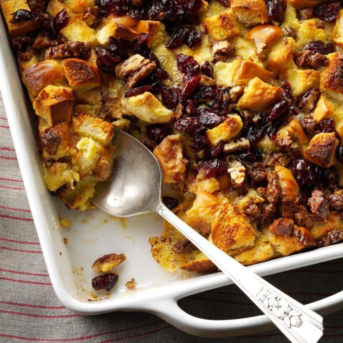 Desserts: Eggnog Bread Pudding with Cranberries