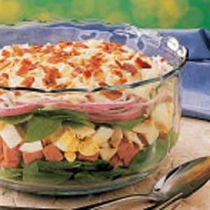 Layered Ham and Spinach Salad