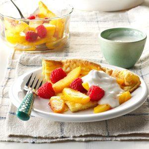 Raspberry Peach Puff Pancake