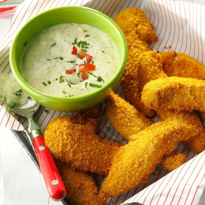 Tuscan Chicken Tenders with Pesto Sauce