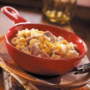 Pork Noodle Casserole with Corn