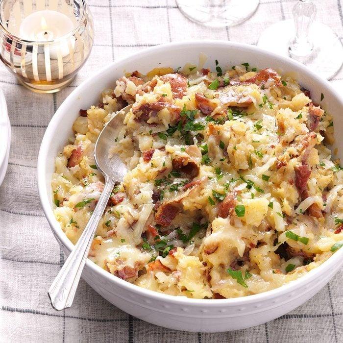 Bacon-Gruyere Smashed Potatoes