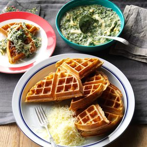 Whole Wheat Waffles with Chicken & Spinach Sauce
