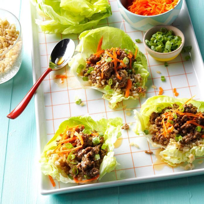 Orange Beef Lettuce Wraps