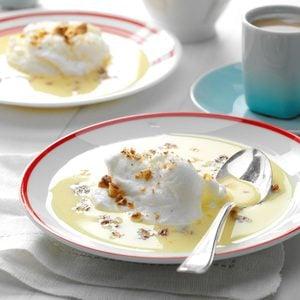 Meringue Snowballs In Custard